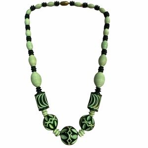 Vintage Art Deco Galalith Carved Bead Necklace